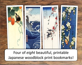 Printable bookmark party favors, gifts labels, for motivation or reward: Japanese print collection
