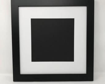 """Pack of 3 12x12 1.25"""" Black Solid Wood Picture Frames with White Mat Cut for 8x8 Pictures"""