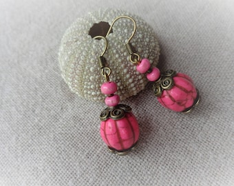Bronze pumpkin support pink stone earrings