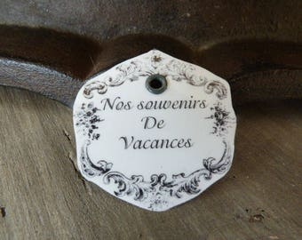 """""""Holiday memories"""" metal tag size 4.5 cm x4.5 cm approx."""