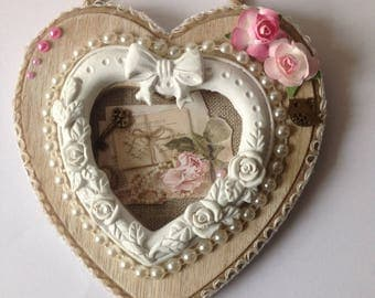 Heart wall decor, shabby chic