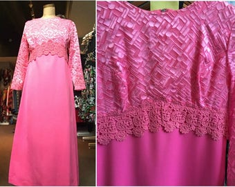 Vintage 1970s Pink 'Lawrence Dress' Maxi Dress - Size 12