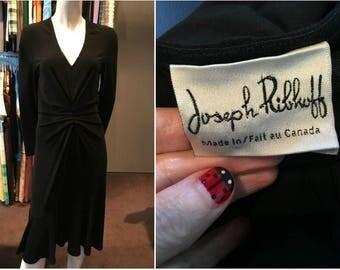 Vintage 90s Joseph Ribkoff Classic Black Dress with Rouging - Size 9/10