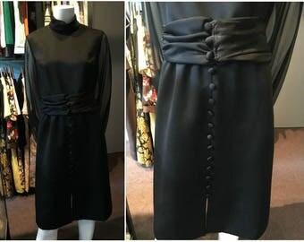 Vintage 1960s Missy House Black Semi-Formal Midi Dress Size 11/12 - NWT