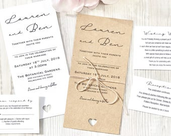 Personlised Handmade Wedding Invitation Sets with envelope option