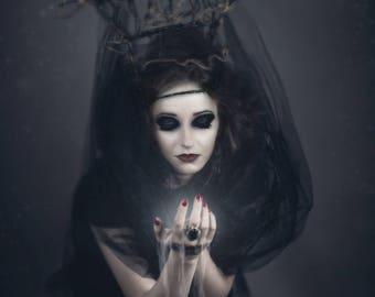 Transfer witch spirit dark to light fabrics 13 x 9 cm fusible