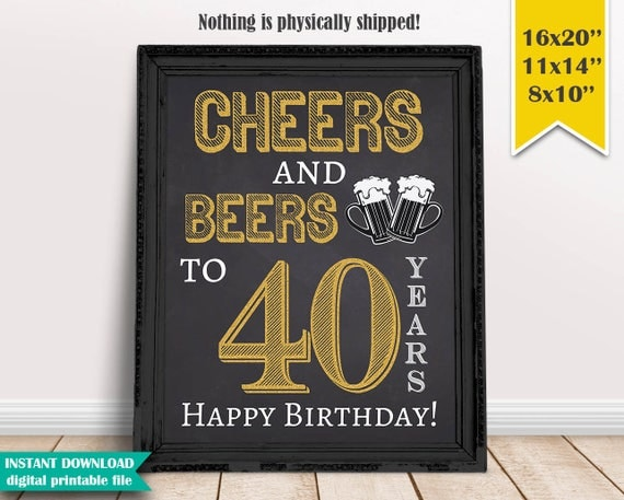 Cheers Amp Beers To 40 Years 40th Birthday Chalkboard Poster