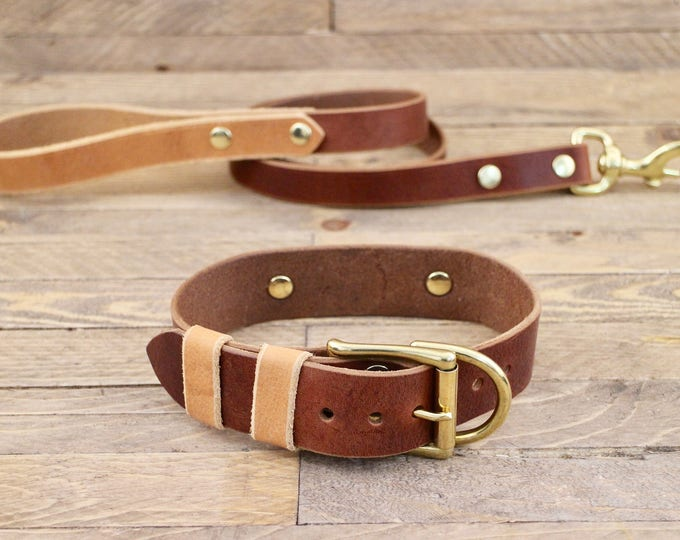 Dog collar, Dog leash, Set, Cowboy - Whiskey, Brass hardware, FREE ID TAG, Handmade leather collar, Leather leash, Leather collar.