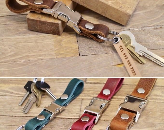 Keychain, FREE phone tag, Belt leather key chain, Belt leather key fob, Gift ideas, Leather key lanyard, Handmade key holder, Key fob.