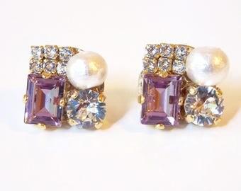 Purple crystal Swarovski earrings line stone amethyst white cotton pearl bridal jewelry wedding jewelry party earrings cluster earrings