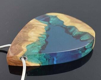 Wood Resin Pendant, Resin Pendant, Beach outfit, Resin Jewelry, Unusual Necklace, Boho Chic, November birthday, Artisan, Original Design