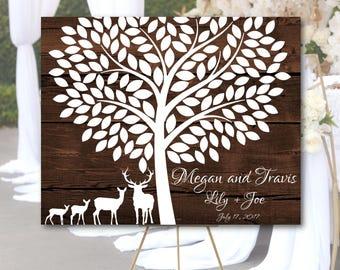 Blended Family Wedding Guest book Alternative canvas, Deer & tree wedding guest book, Deer Family poster, Blended Family wall art