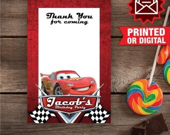 Printed or Digital - Cars Thank you card, Cars Birthday Party, Cars Printed Thank You Card, Cars Party Decoration