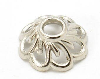 Tibetan Style Antique Silver Flower Bead Caps, 9 mm x 4 mm, Pack of 50 (2082)