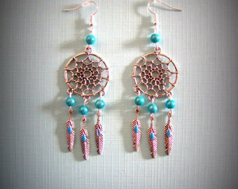 Dream catcher earrings dreams turquoise color, country, cowboy, Indian