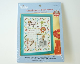 Bucilla Little Explorer Birth record Counted Cross Stitch Kit 10 Inches by 13 inches No.Wm45716