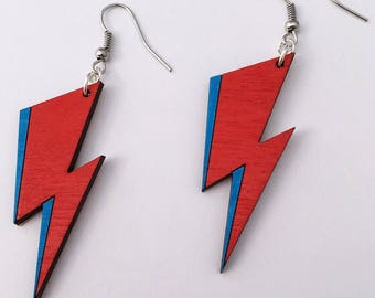 Bowie Bolt Earrings, David Bowie Lightning Bolt Dangle Earrings, Ziggy Stardust Jewlery