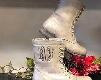 Combat Boots Monogram Fall Boots, Custom Women's Shoes, Personalized Lace Up Combat Boots, Embroidery