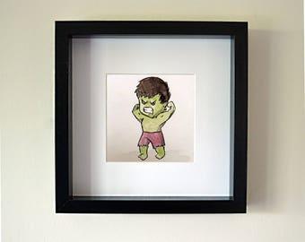 Handmade Incredible Hulk Framed Watercolour
