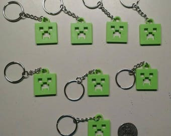 Mine Craft Creeper keychains (3d printed!) - Set of 8