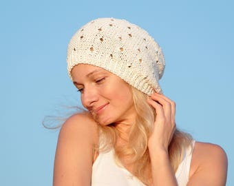 Cotton beanie hat summer accessories cotton clothing womens white hat knit hat bohemian hat bohemian wedding hat hippie clothes chemo beanie