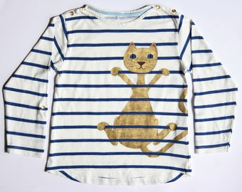 T-Shirt men long sleeve striped White Blue size 5T - OOAK