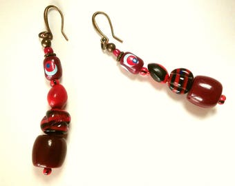 Unique, Large Red/Marsala and Black Beads Long Earrings
