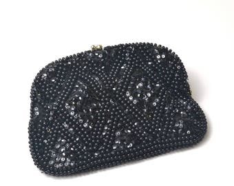 Vintage Clutch, BonSoir, Black Beaded Handbag, Italian Beads, Made in Japan, Touch of Elegance, Women's Evening Bag, Very Good Condition