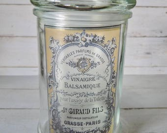 apothecary jar, Vintage, glass jars, Glassware, vintage decor, cottage decor, french label, KW020