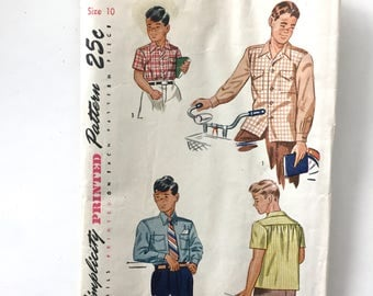 1950s Vintage #2049 SIMPLICITY Clothing Pattern Boys Button Down Shirt