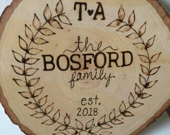 Wood Burned Family Plaque