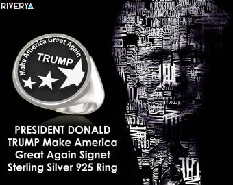 Make America Great Again, Donald Trump, 45th President, Silver 925 Ring, Republicans, Donald Trump Ring, Trump Ring, Donald Trump, President