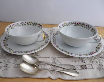 2 cups and saucers vintage french white and floral border - Porcelain Limoges J.Duchamp -