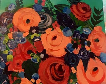 Whimsical roses and wildflowers painting