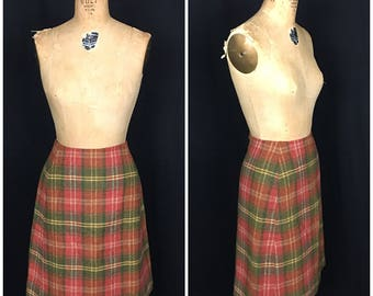 1960s Red Plaid Mod Mini Skirt 60s Vintage Red and Green Checkered Wiggle Pencil Skirt