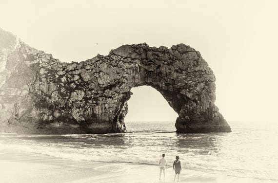 DURDLE DOOR BOYS. Dorset Print, Seascape Print, Beach Print, Durdle Door, Limited Edition