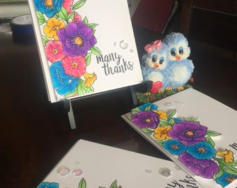Handmade Card, Stamped Card, Hand Colored Card, Floral Card, Thank You Card, Customizable Card, Birthday Card, Get Well Card,