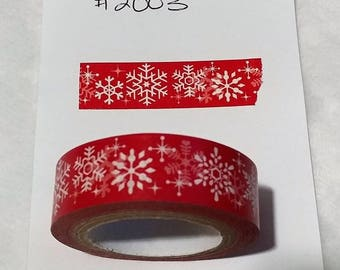 Snowflake Washi Tape - Red & White Design
