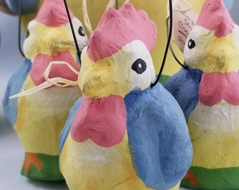 Set of Wimpole Street Creations Rooster/Chicken and Chicks Baskets  - Paper Mache Easter Baskets - Hen and Chicks