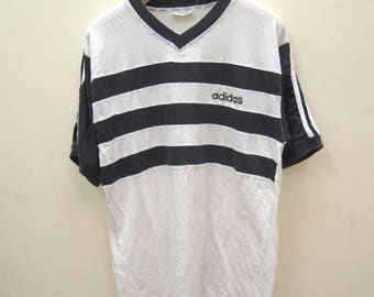 Vintage Adidas Minimalist Logo T Shirt Sport Street Wear Swag Stripe Shirt Size L