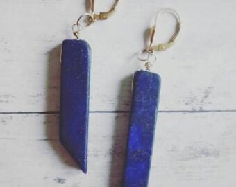 Semi precious/lapis lazuli/Amethyst/rose quartz stones dangling earrings