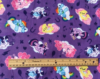 "My Little Pony sleeping on purple flannel fabric, 42"" wide, 100% cotton, flannel fabric, MLP fabric, Licensed fabric, cartoon fabric"