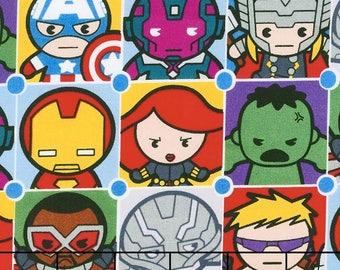 "Avengers Kawaii in squares fabric, By the Half Yard, 44"" wide, cotton"