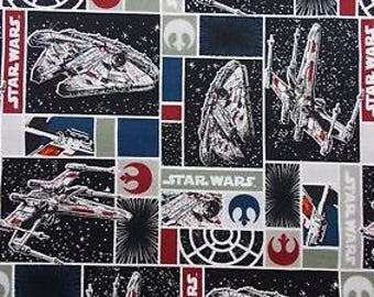 "Star Wars navy and maroon in blocks print fabric, By the Half Yard, 44"" wide, cotton"