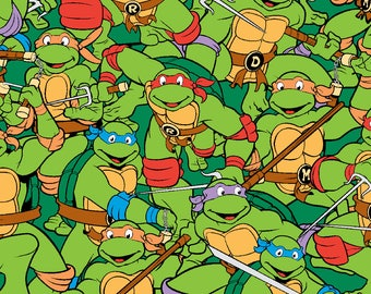 "TMNT Flannel  Hereos on a half shell packed by Spirings Creative fabric, 43"" wide, 100% cotton, by the half yard"