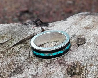Ebony and Turquoise  Sterling Silver Ring - Handmade wooden ring - Men's Wood Ring - Women's Wood Ring - Wood  Inlayed Silver ring