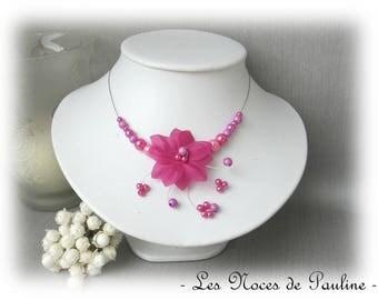 Fuchsia pink bridal satin flower has Aude