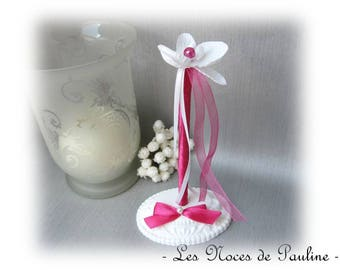 Fuchsia pink wedding pen set white orchid for guest book
