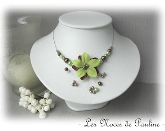 Wedding Brown and Green Flower necklace silk Aude