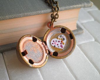 """Vintage Locket Necklace """"You Are So Loved"""" Hand Painted Heart Secret Message Pendant - Cosmic Love Tiny Galaxy Art Ball Locket Jewelry Gift"""
